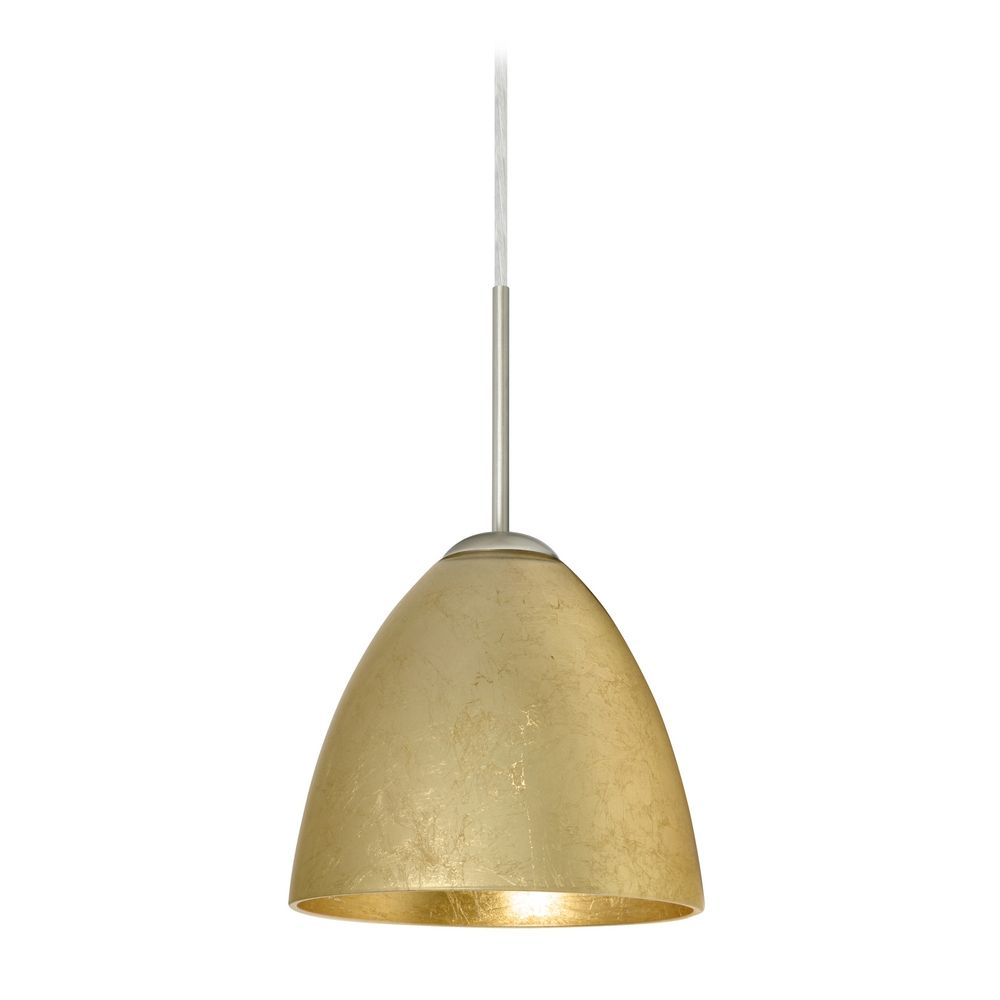 Modern Pendant Light Gold Glass Satin Nickel By Besa