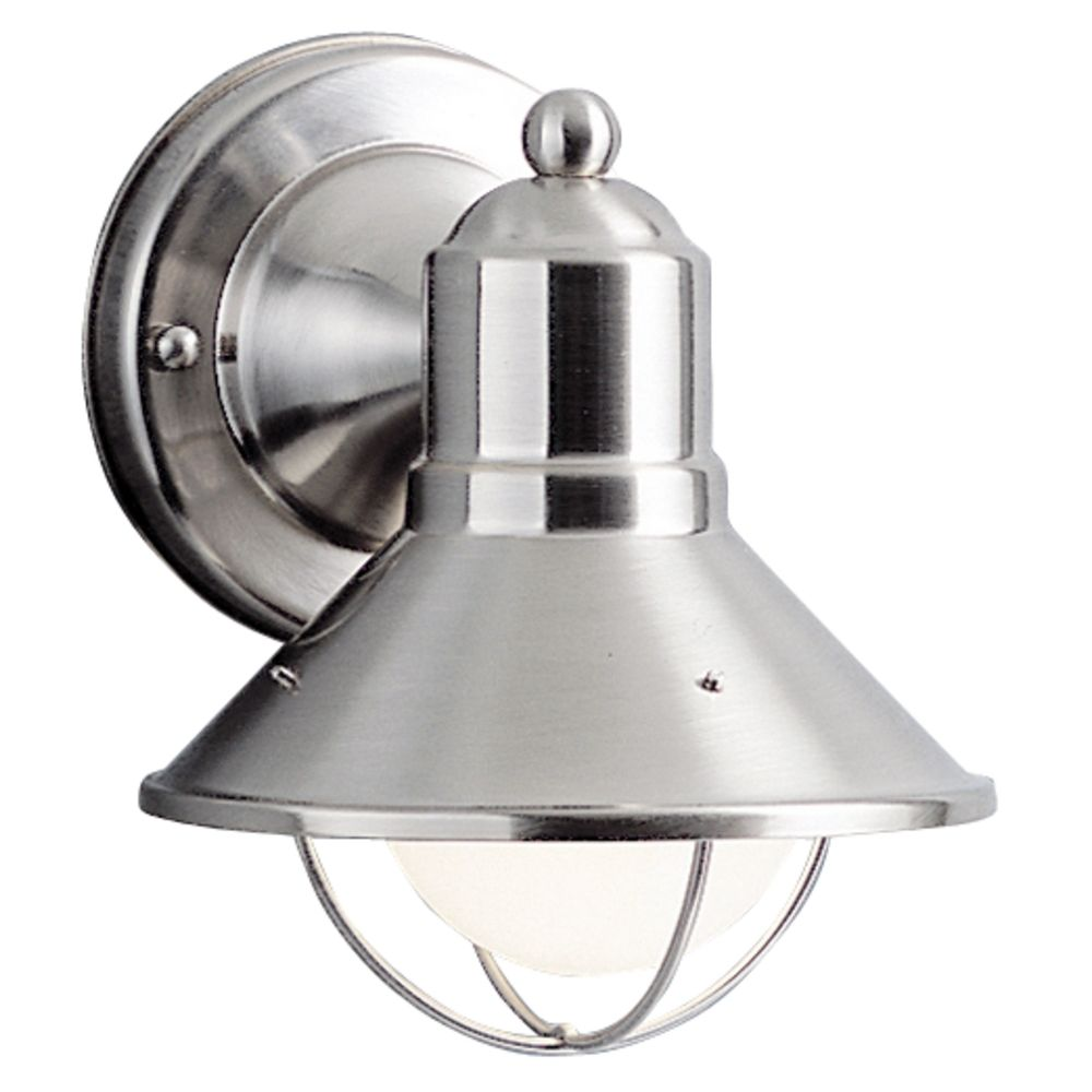 Kichler nautical outdoor wall light in brushed nickel for Outdoor sconce lighting fixtures