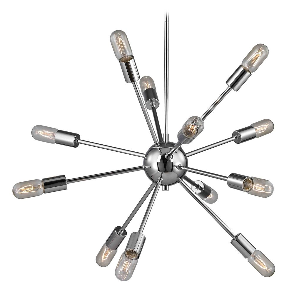 MidCentury Modern Pendant Light Polished Chrome 12Light 17826