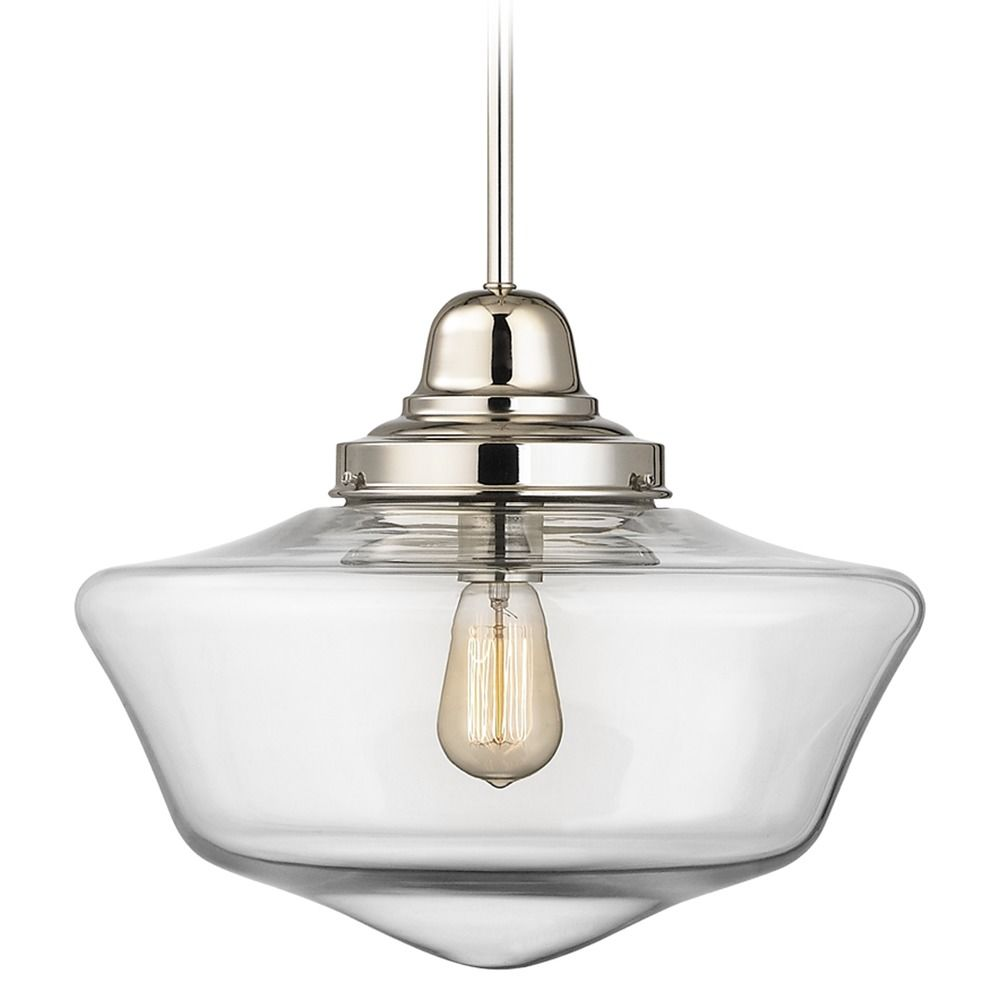 16 inch clear glass schoolhouse pendant light in polished nickel product image arubaitofo Gallery