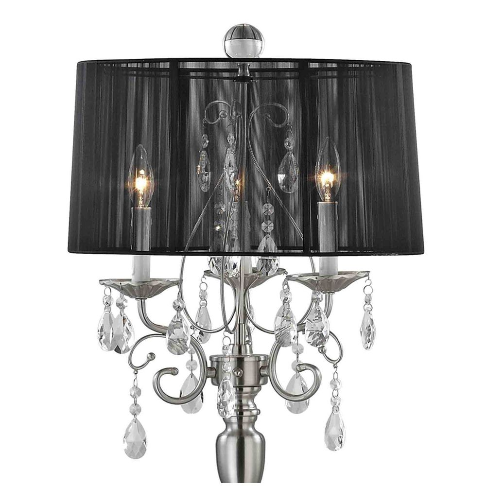 Crystal chandelier floor lamp with black drum shade in satin crystal chandelier floor lamp with black drum shade in satin nickel alt3 arubaitofo Choice Image