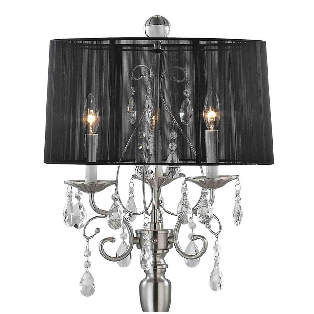 crystal chandelier floor lamp with black drum shade in satin nickel. Black Bedroom Furniture Sets. Home Design Ideas