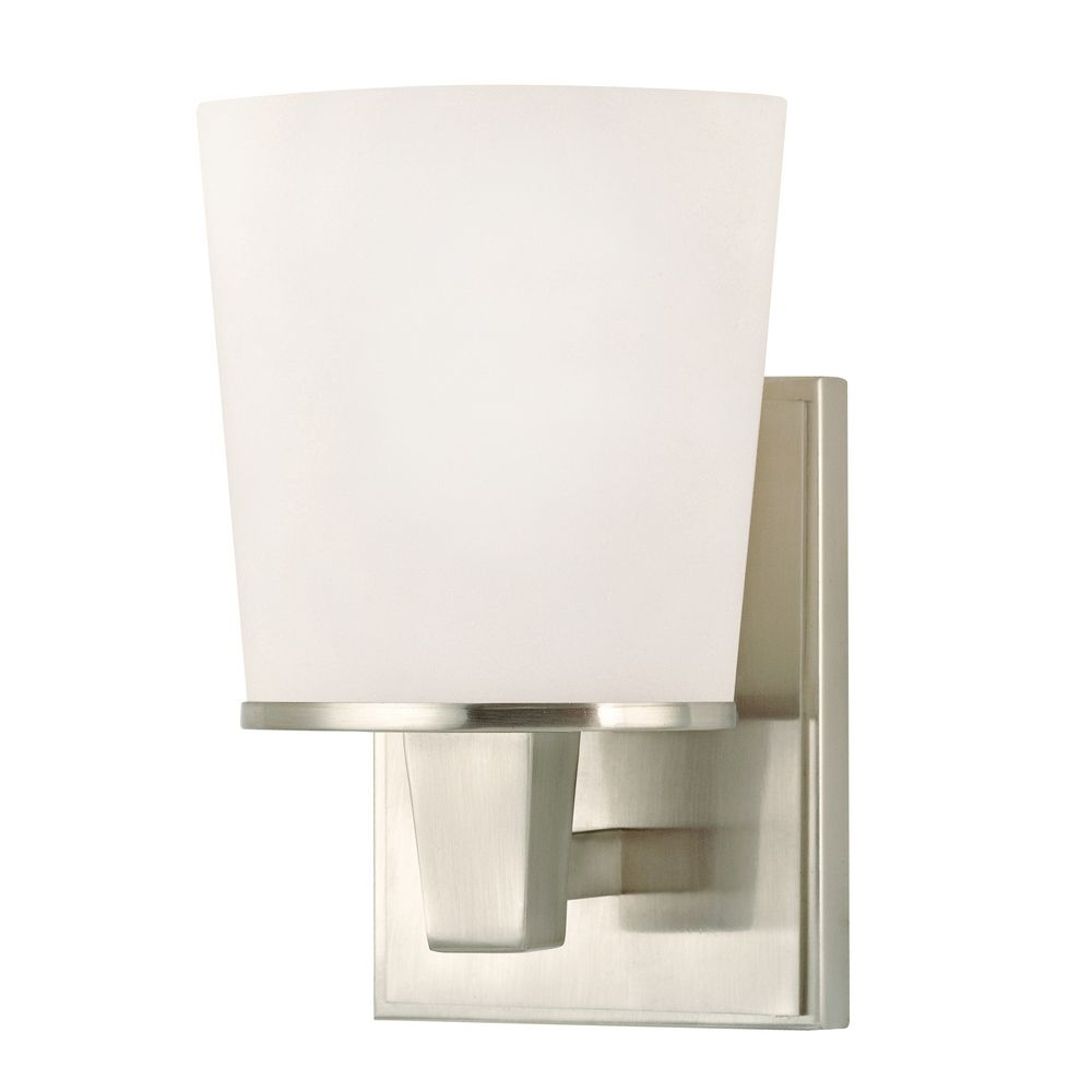 Modern Sconce Wall Light with White Glass in Satin Nickel Finish 1096-09 Destination Lighting