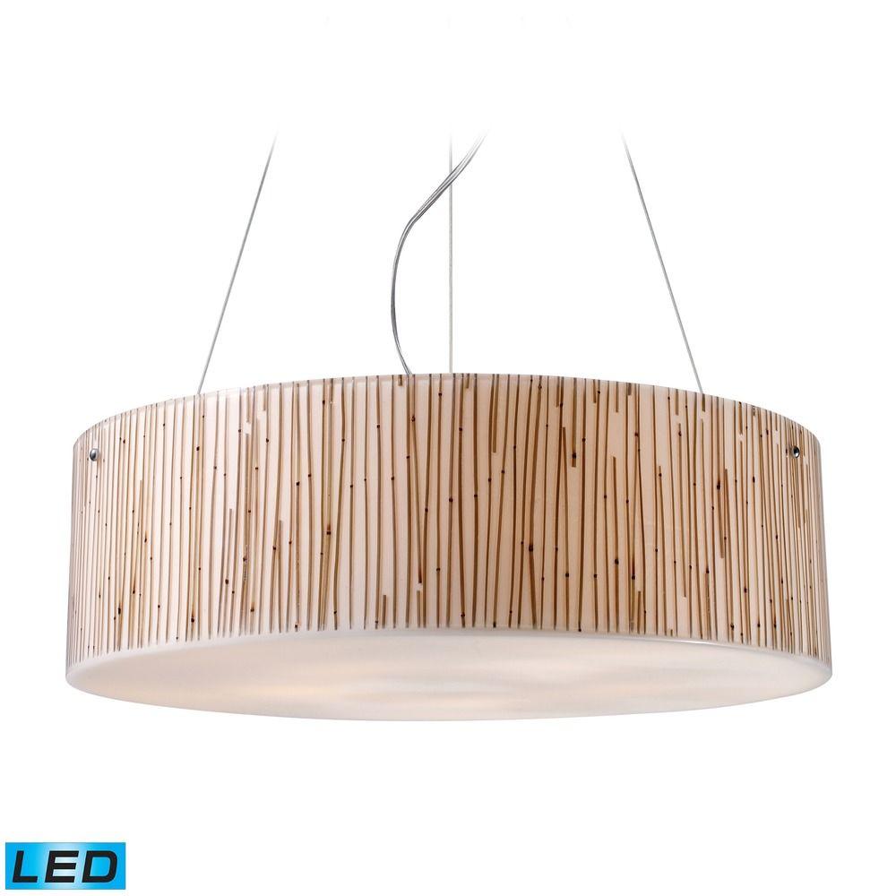 Elk lighting modern organics pendant : Elk lighting modern organics polished chrome led pendant light with drum shade
