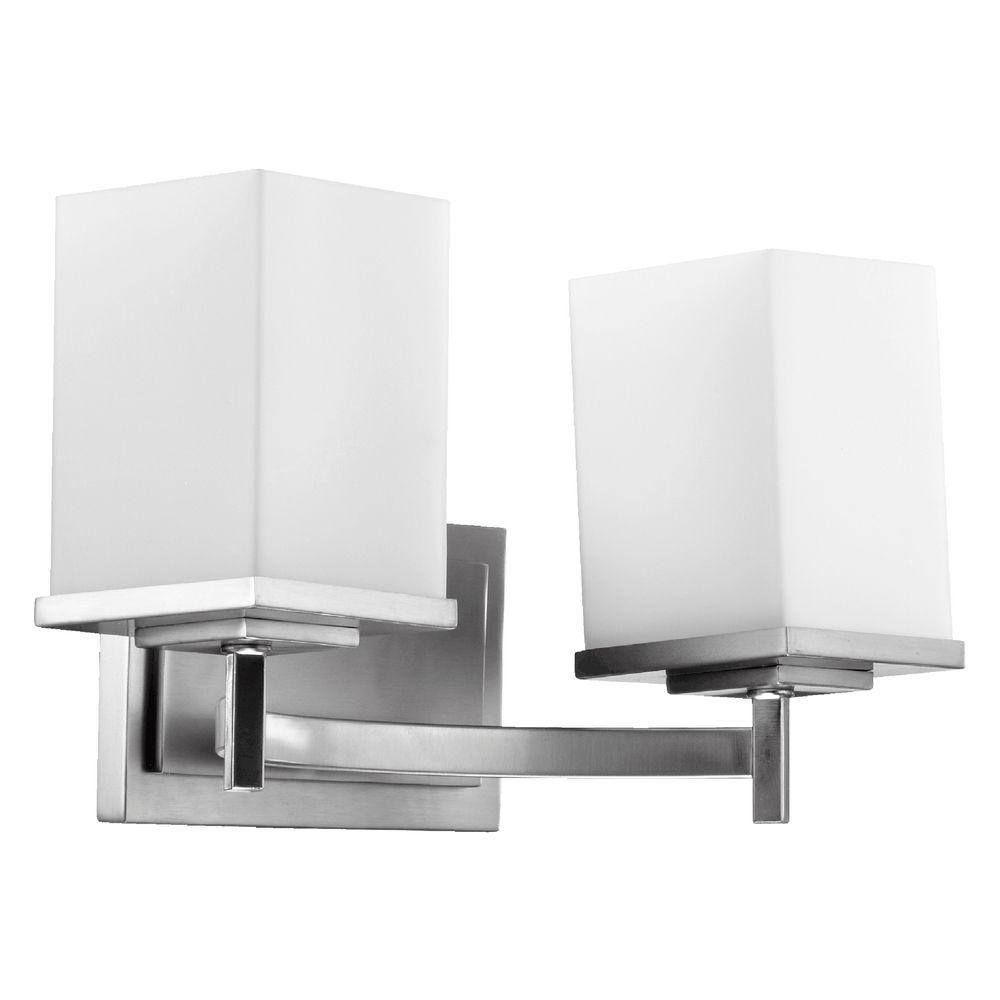 Modern Bathroom Light Satin Nickel Delta By Quorum Lighting 5084 2 65 Destination Lighting