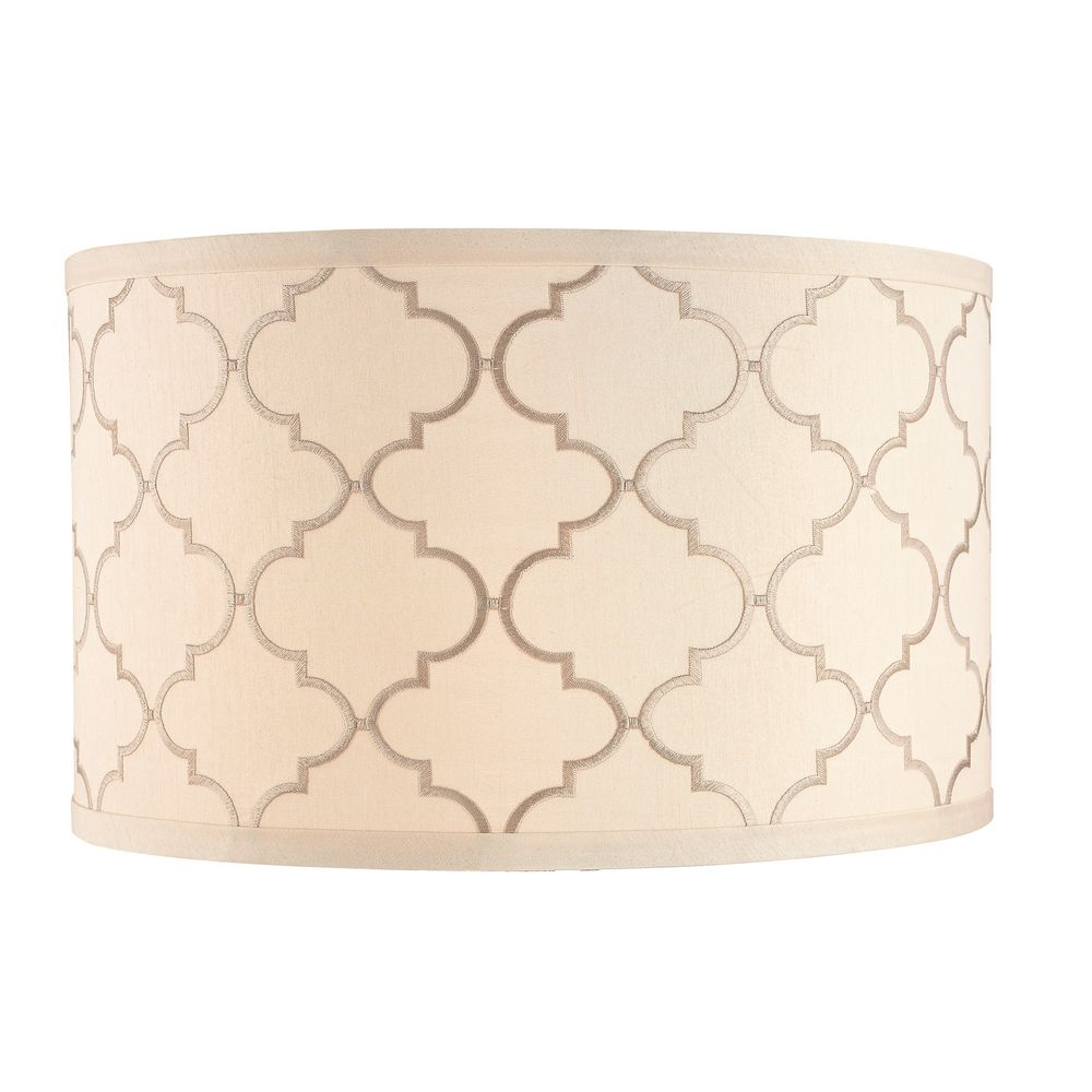 Cream Drum Lamp Shade With Marrakesh Pattern And Spider Assembly