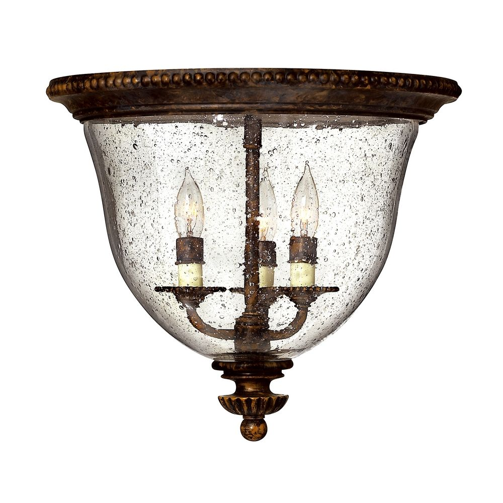 Hinkley Lighting Seeded Gl Flushmount Light Bronze 3712fb Hover Or Click To Zoom
