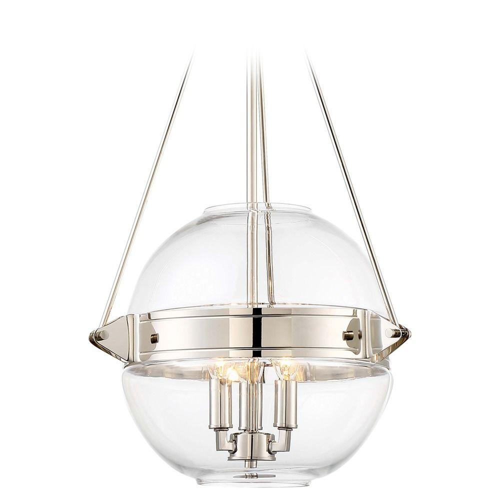 Minka lavery atrio polished nickel pendant light with globe shade product image aloadofball Images