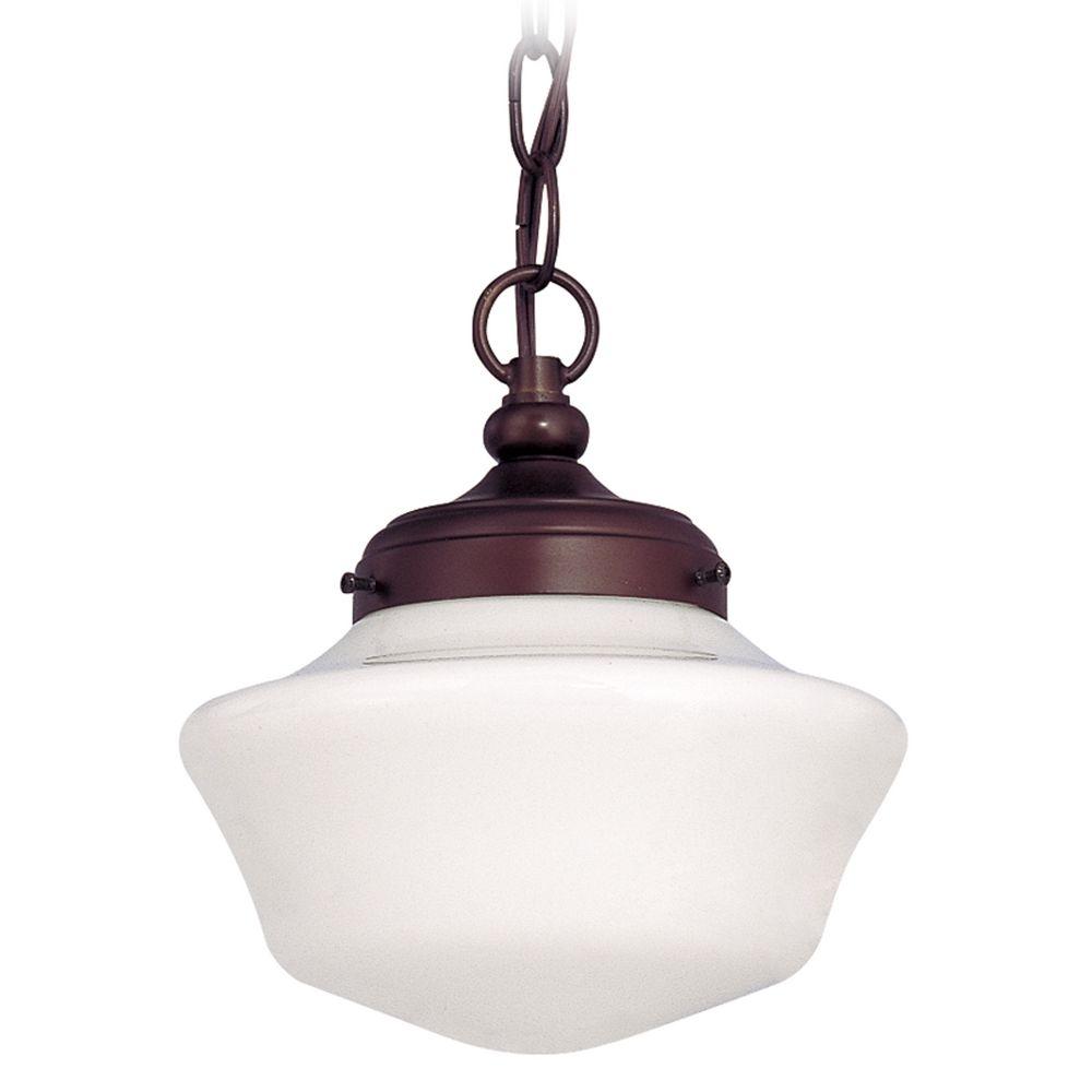 8 Inch Bronze Schoolhouse Mini Pendant Light With Chain At Destination Lighting