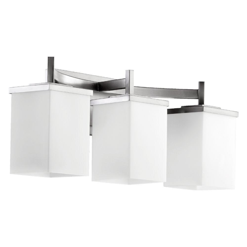 Modern Bathroom Light Satin Nickel Delta By Quorum Lighting 5084 3 65 Destination Lighting