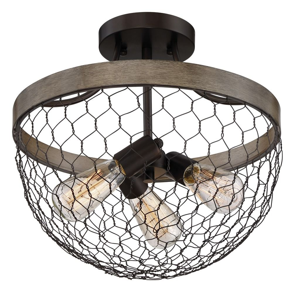 Farmhouse Light Chicken Wire Semi Flush Ceiling Light by Quoizel ...