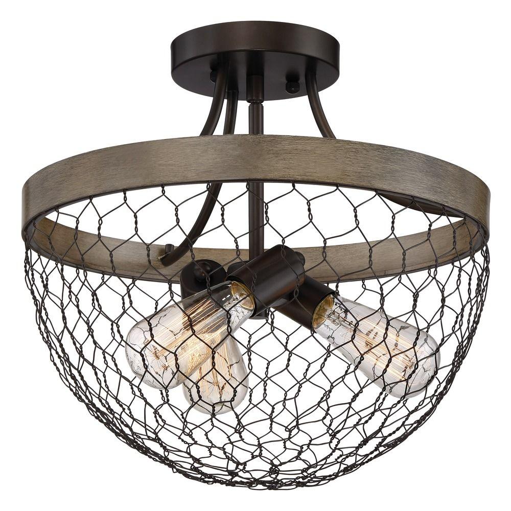 Farmhouse Light Chicken Wire Semi Flush Ceiling Light by Quoizel ...