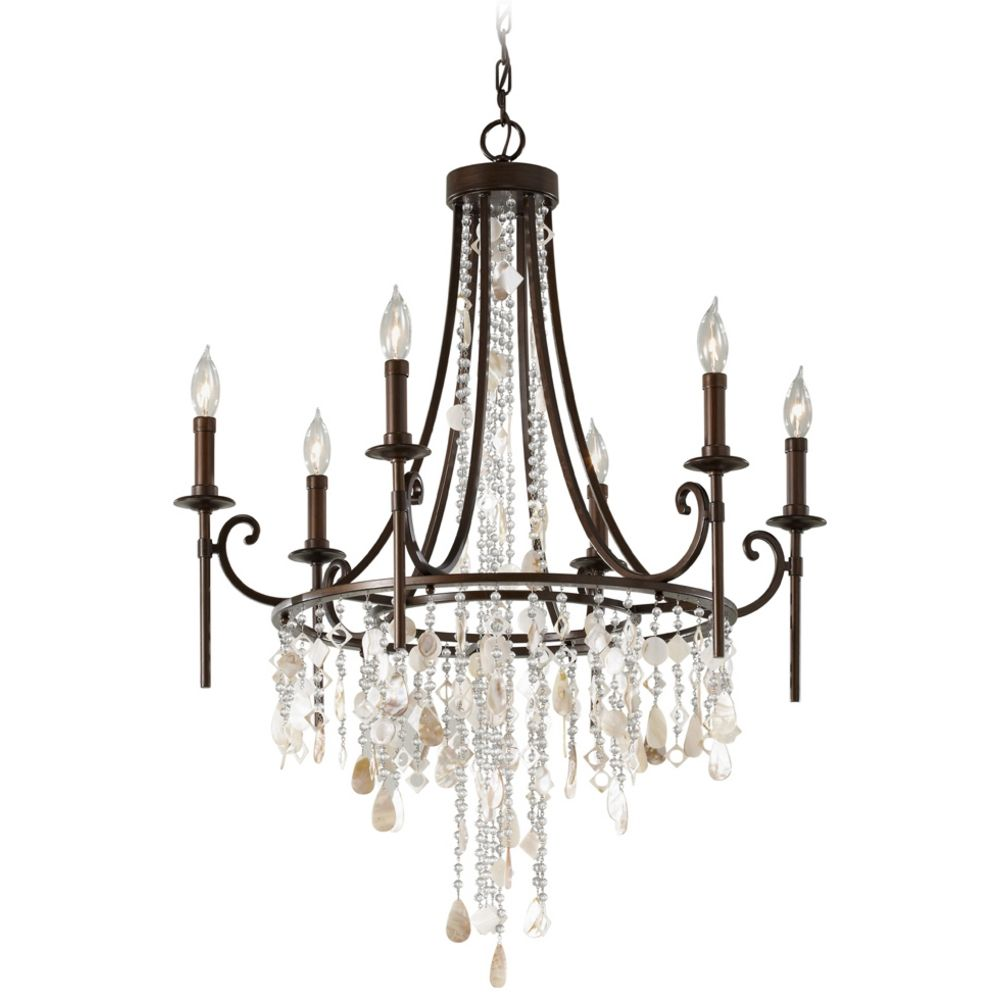 Murray Feiss Foyer Lighting: Vintage Bronze Crystal Chandelier Light With Cascading