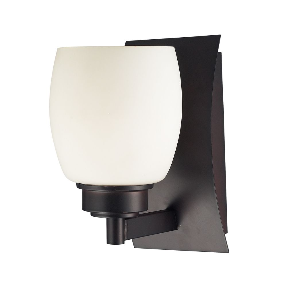 Modern Bathroom Light With White Glass In Aged Bronze