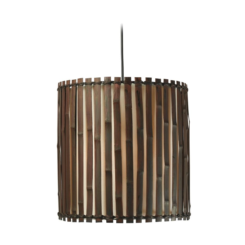 drum pendant light with brown tones bamboo shade in dark split bamboo finish bamboo pendant lighting