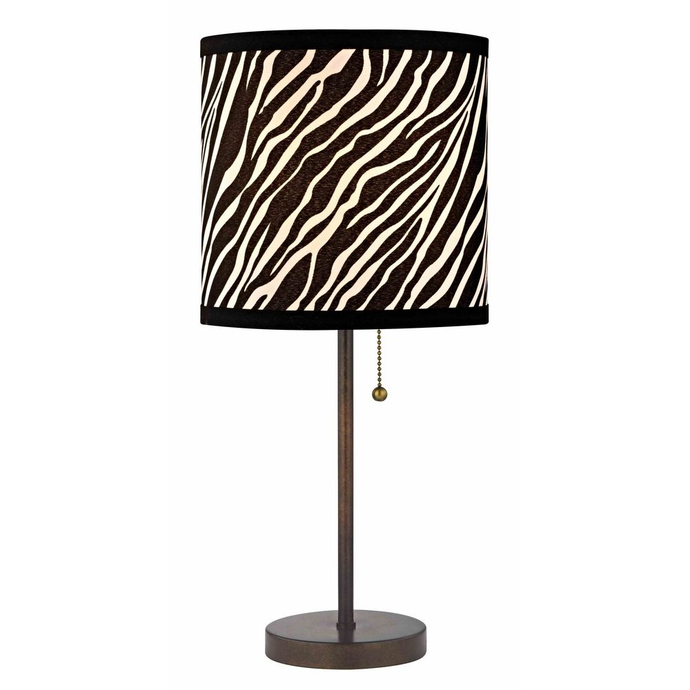 Bronze Pull Chain Table Lamp With Zebra Drum Shade 1900 604 Sh9483