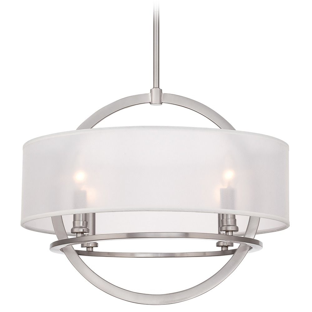 quoizel portland brushed nickel pendant light with drum. Black Bedroom Furniture Sets. Home Design Ideas