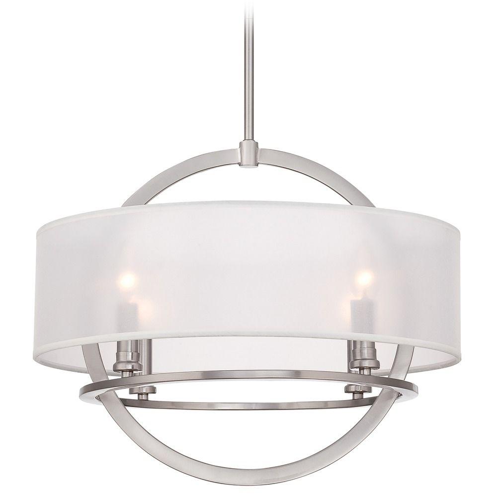 Quoizel Portland Brushed Nickel Pendant Light With Drum