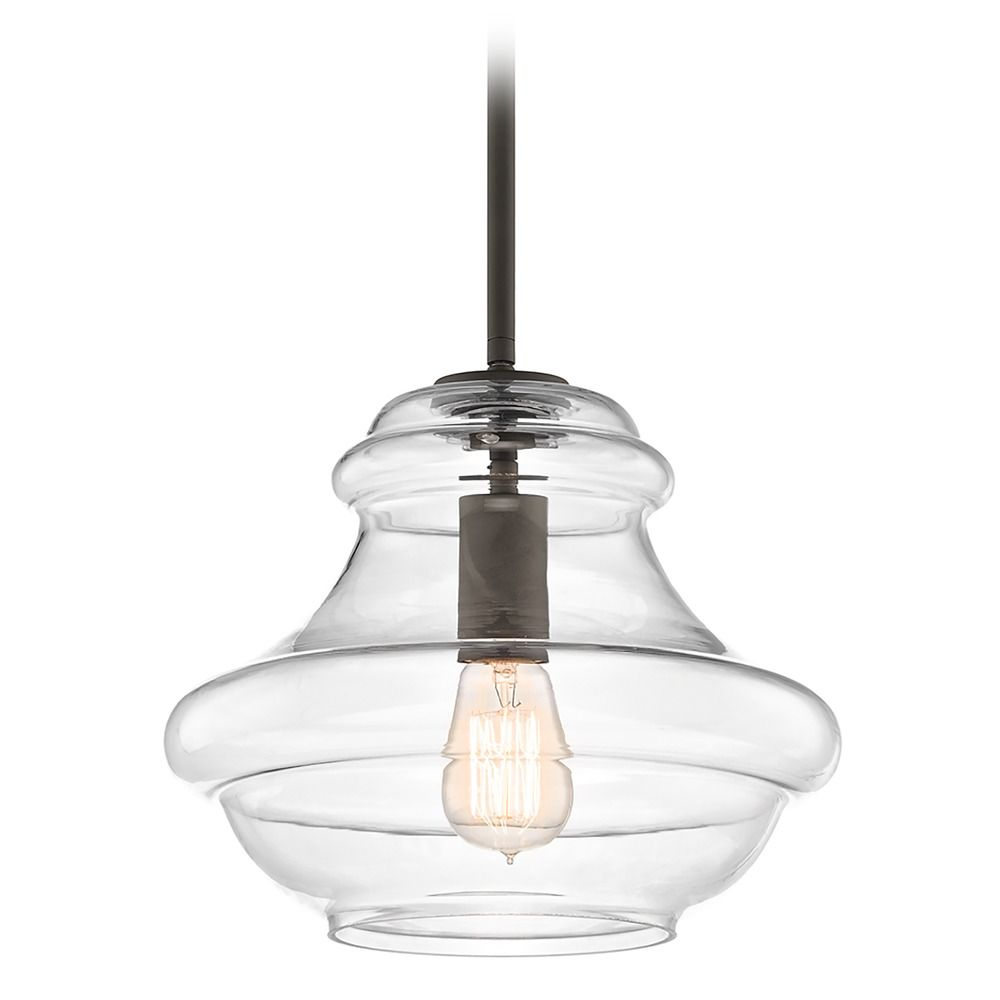 Kichler Everly Olde Bronze Pendant Light With Clear Glass