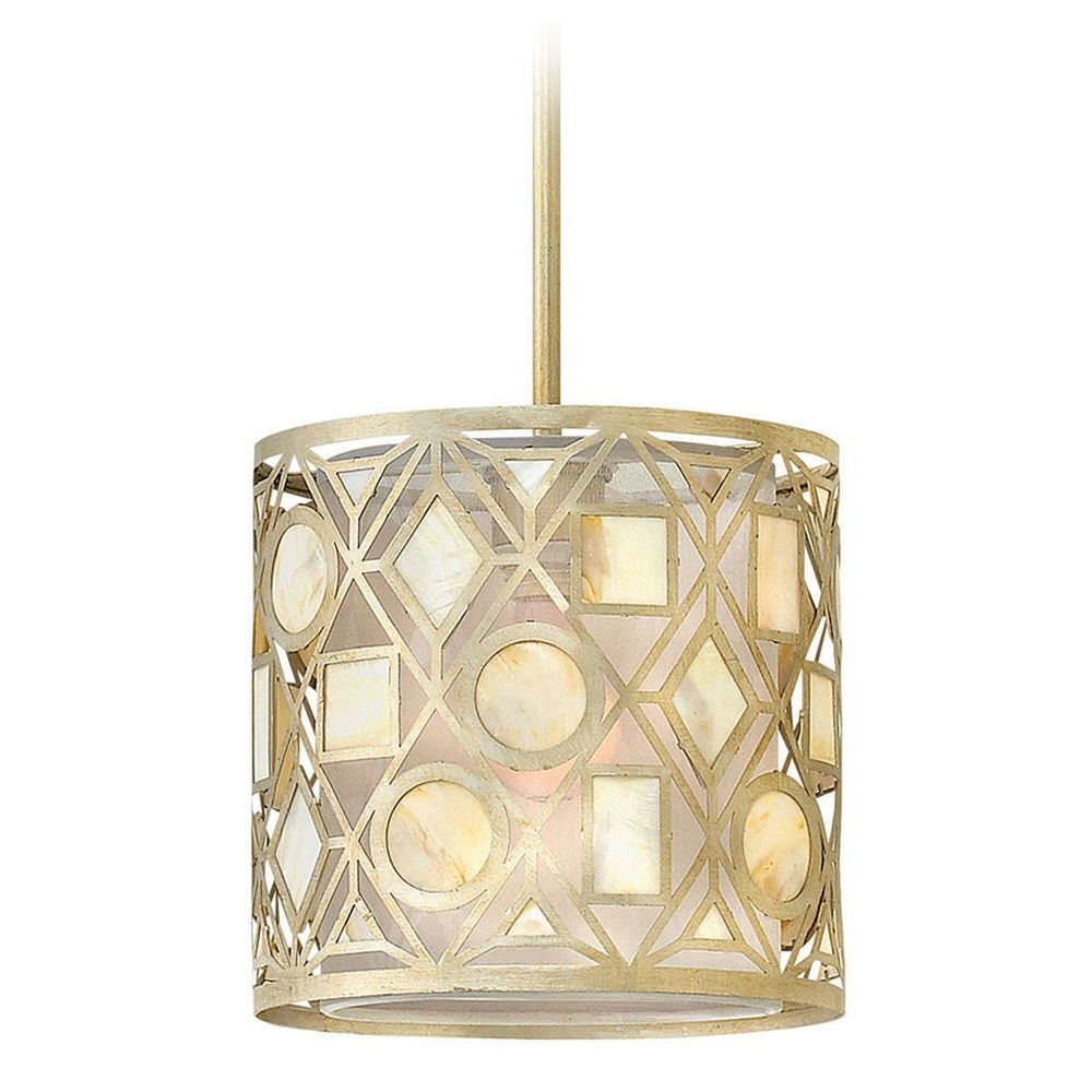 Frederick ramond isla silver leaf mini pendant light with drum shade product image aloadofball Gallery