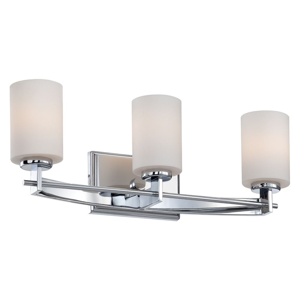 Modern Bathroom Light With White Glass In Polished Chrome Finish Ty8603c Destination Lighting