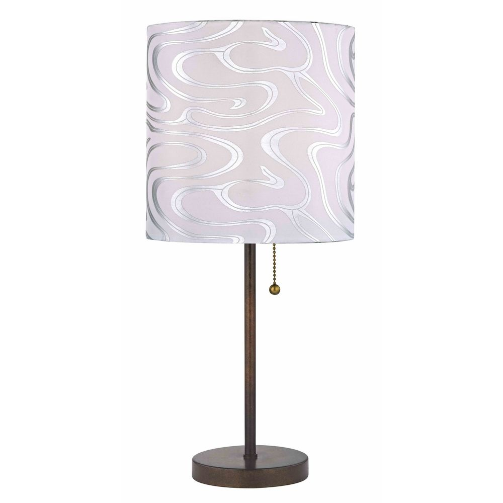 modern pull chain table lamp with silver patterned drum. Black Bedroom Furniture Sets. Home Design Ideas