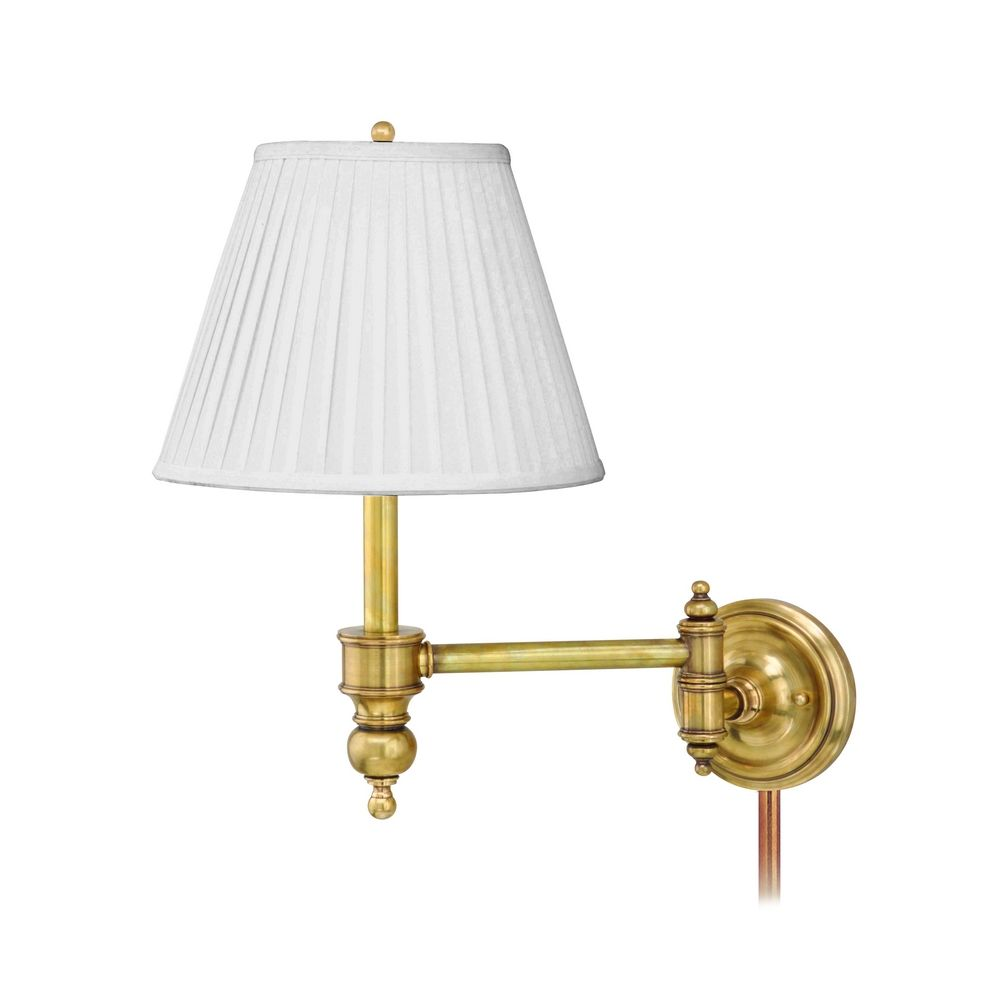 Hudson Valley Emergency Lighting: Swing Arm Lamp With White Shade In Polished Nickel Finish