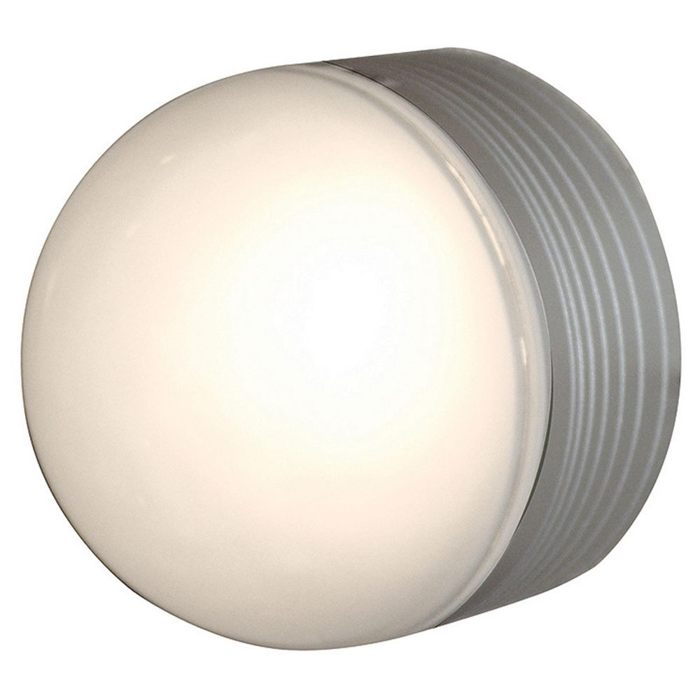 Modern Outdoor Wall Light With White Glass In Satin Nickel