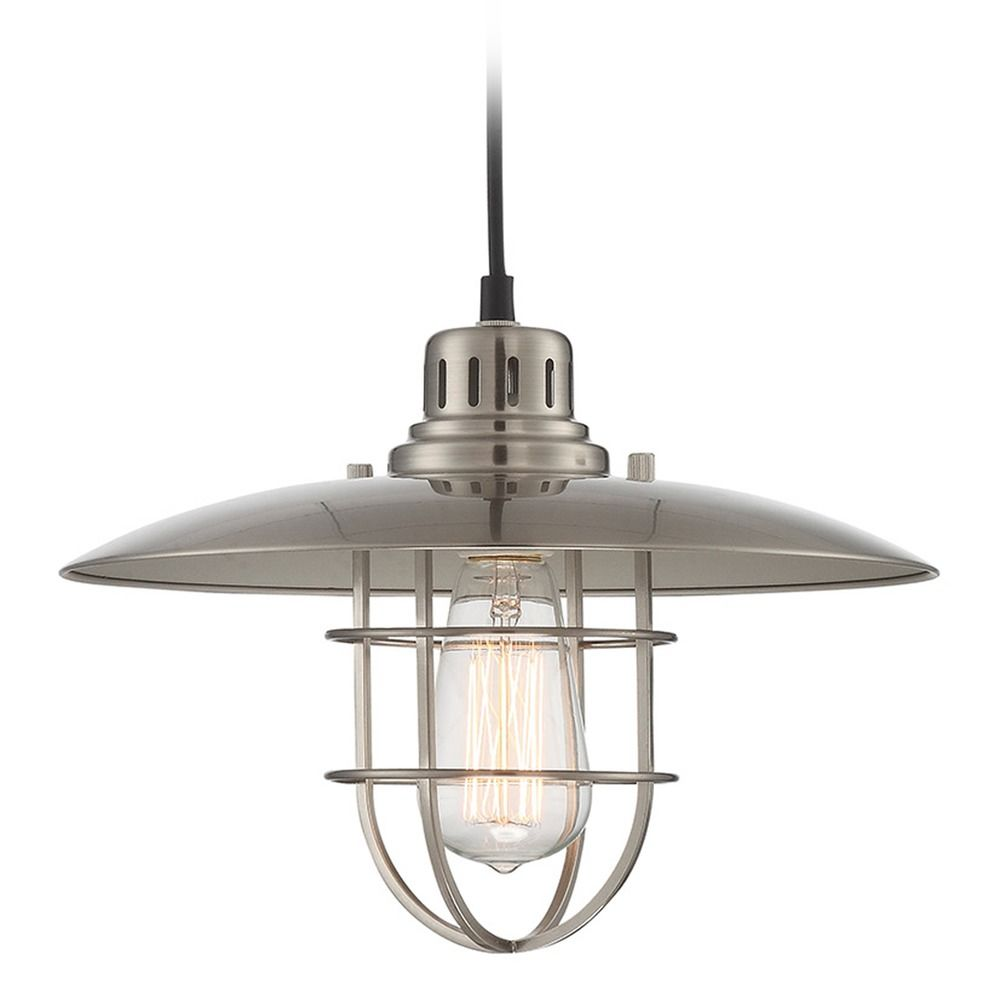 Lite Source Polished Steel Pendant Light With Coolie Shade