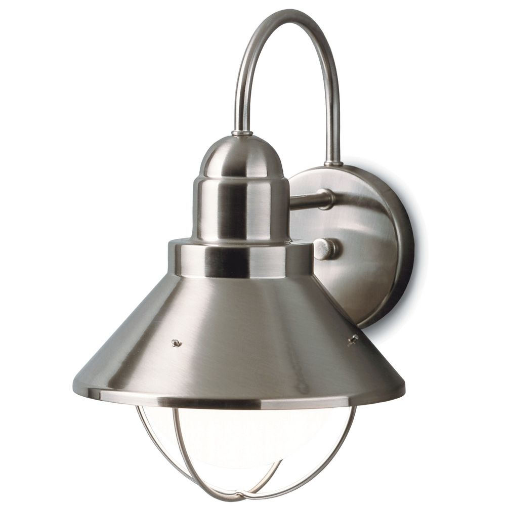 Kichler outdoor nautical wall light in brushed nickel for Outdoor sconce lighting fixtures