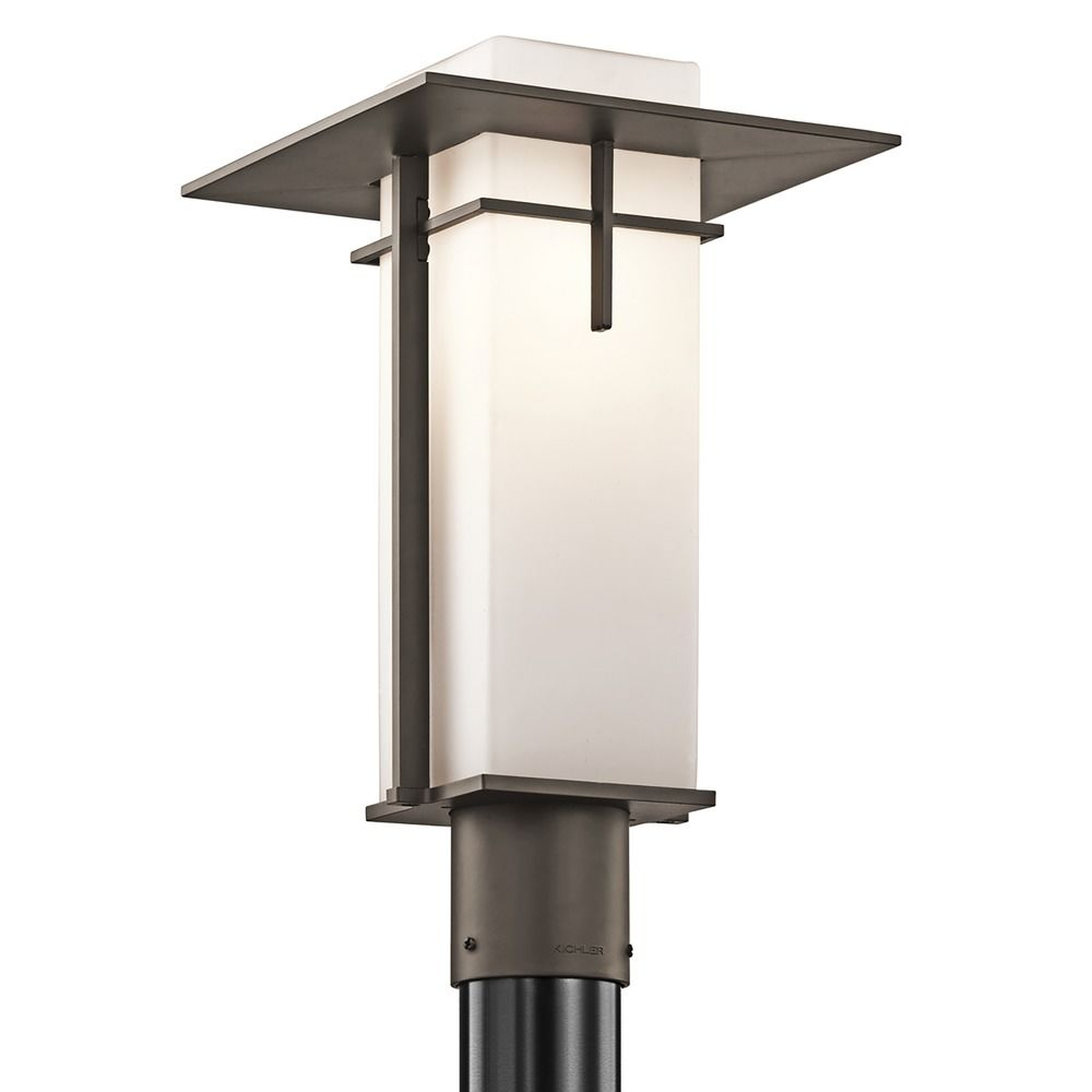 Kichler modern post light with white glass in olde bronze for Contemporary outdoor post light fixtures