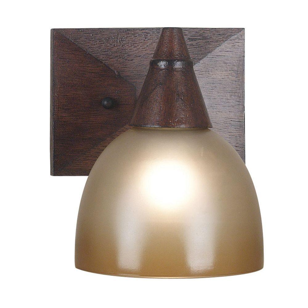 Dark Oak Wall Lights : Sconce Wall Light with Amber Glass in Dark Oak Finish 92110DO Destination Lighting