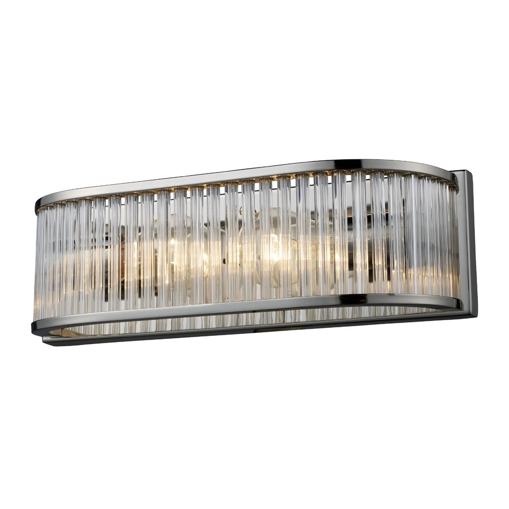 Modern Bathroom Light With Clear Glass In Polished Nickel Finish 10126 2 Destination Lighting