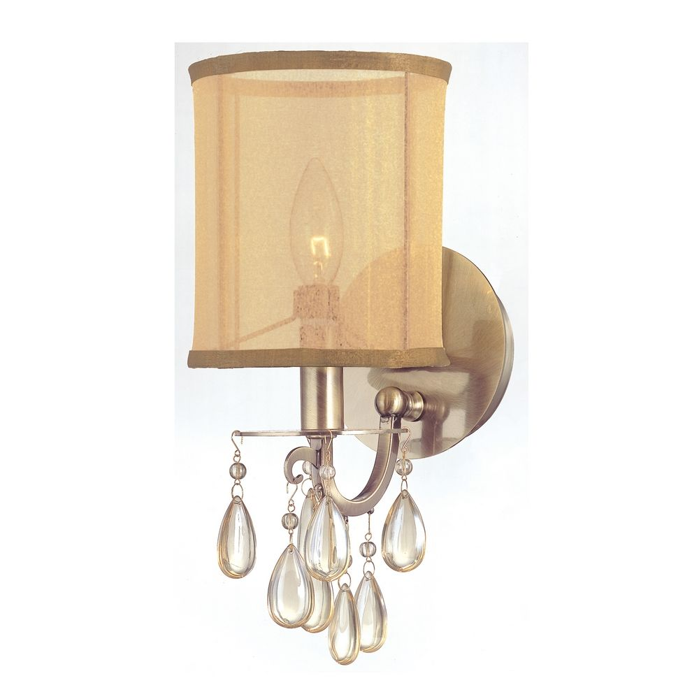 Crystal Sconce Wall Light With Gold Shade In Antique Brass