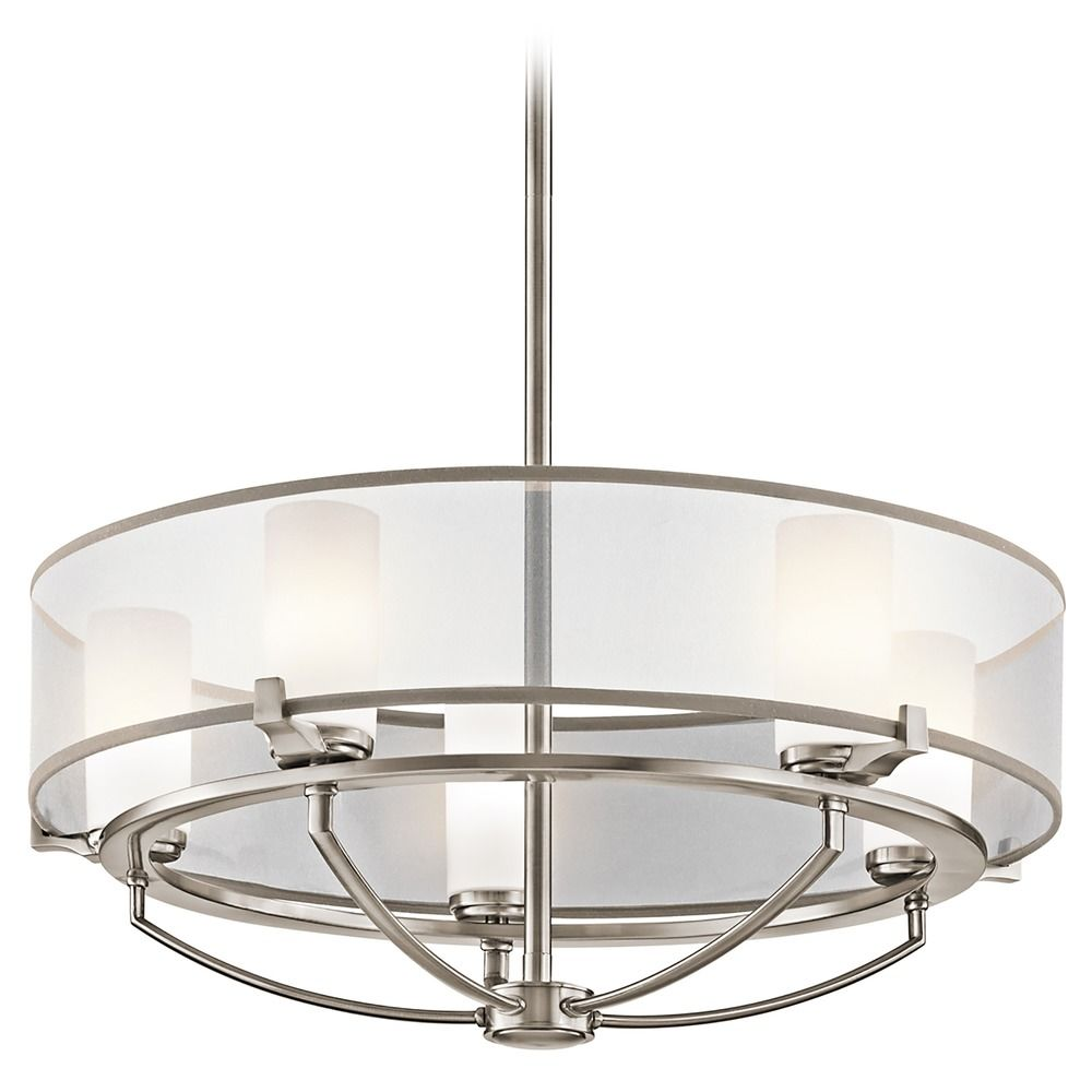 Kichler drum pendant light with white shades in classic pewter kichler drum pendant light with white shades in classic pewter finish aloadofball Choice Image