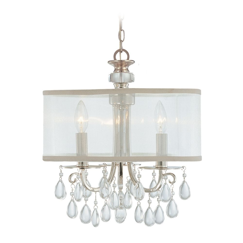 Crystal Mini Chandelier With White Shade In Polished
