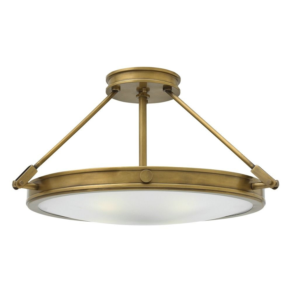 hinkley lighting collier heritage brass semi flushmount light
