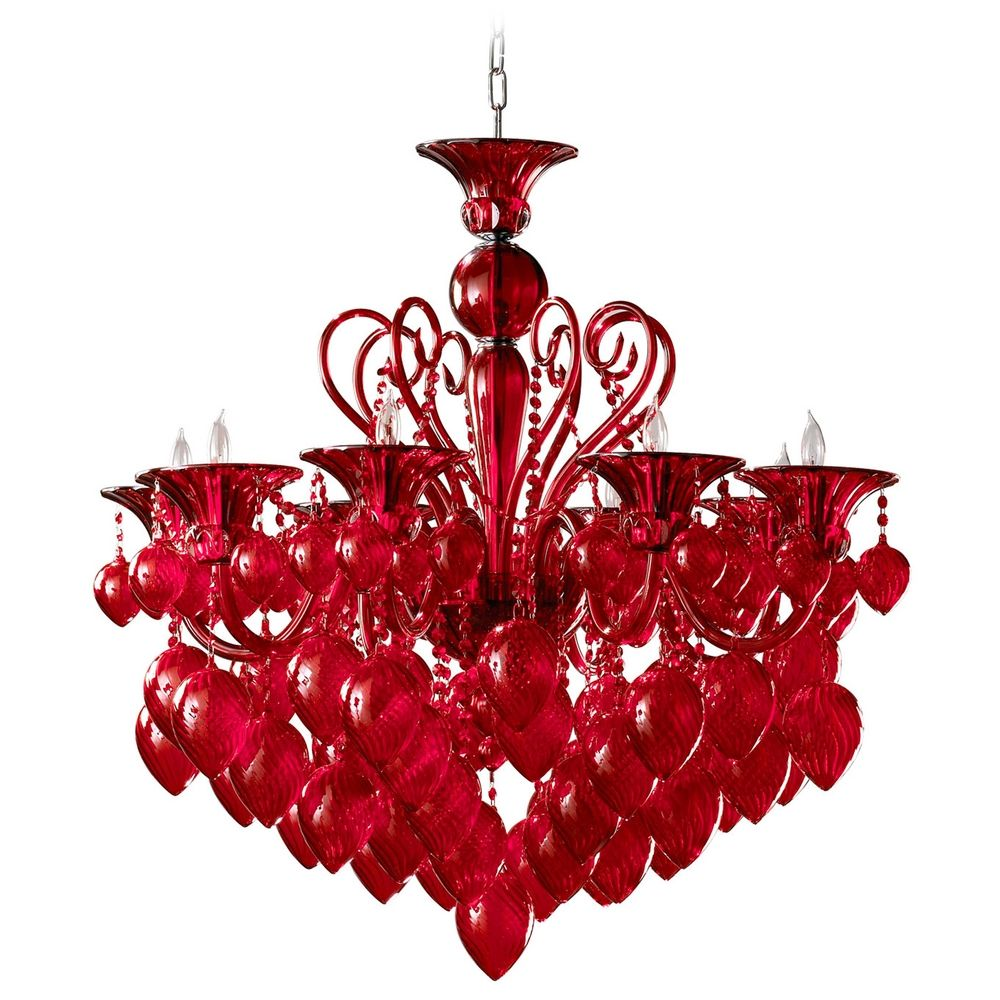 Cyan Design Bella Vetro Red Chandelier Destination Lighting - Red chandelier crystals