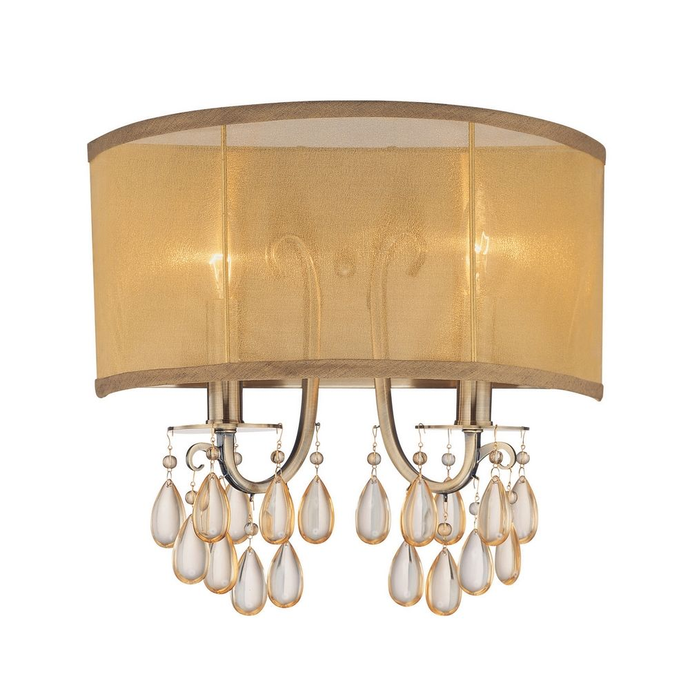 Gold Finish Wall Sconces : Crystal Sconce Wall Light with Gold Shade in Antique Brass Finish 5622-AB Destination Lighting