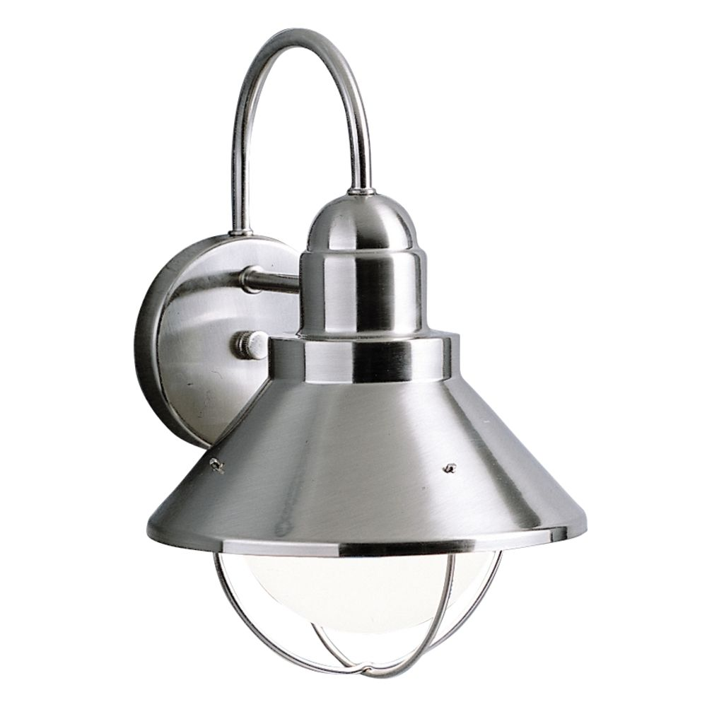 Kichler outdoor wall light in brushed nickel finish for Outdoor porch light fixtures