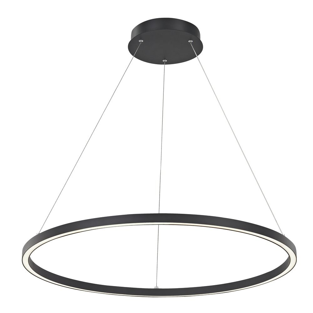 Modern 32-Inch LED Ring Pendant Light Black Finish