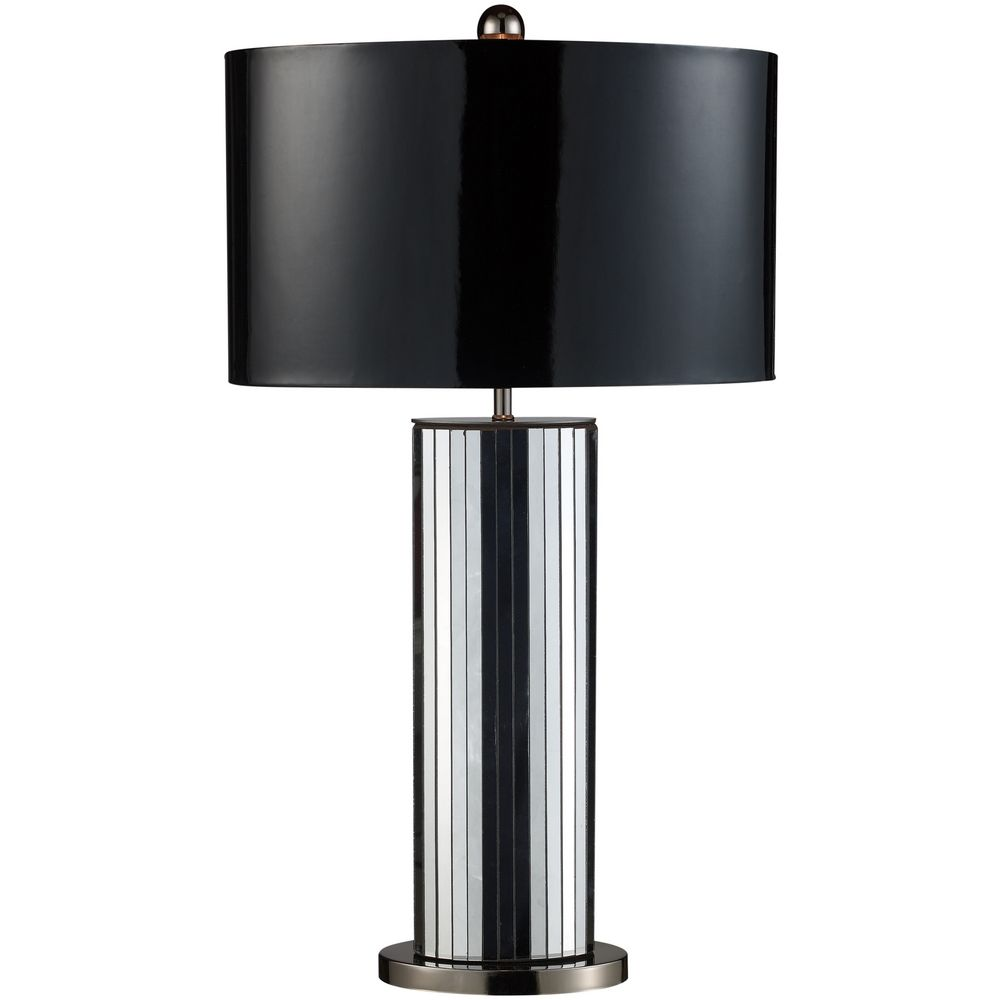 Modern Table Lamp with Black Shade in Mirrored and Black Nickel ...