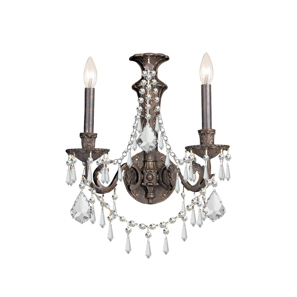 Crystal Sconce Wall Light In English Bronze Finish 5162 Eb Cl Mwp Destination Lighting