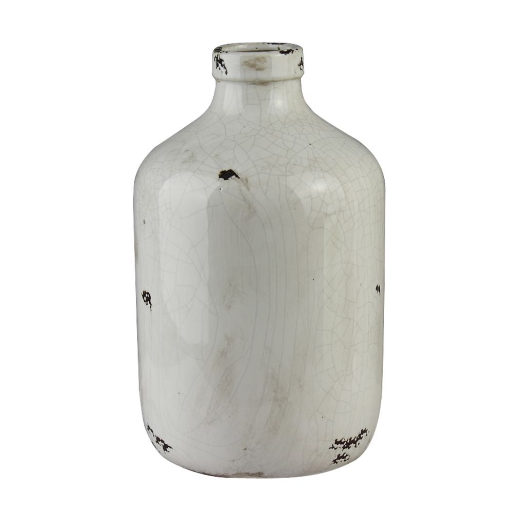 distressed white decorative vase