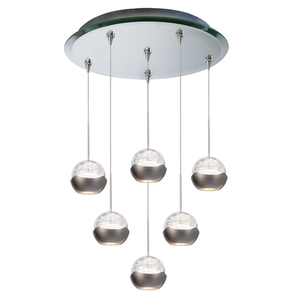 Wac lighting wac lighting genesis mirror led multi light pendant with globe shade qmp