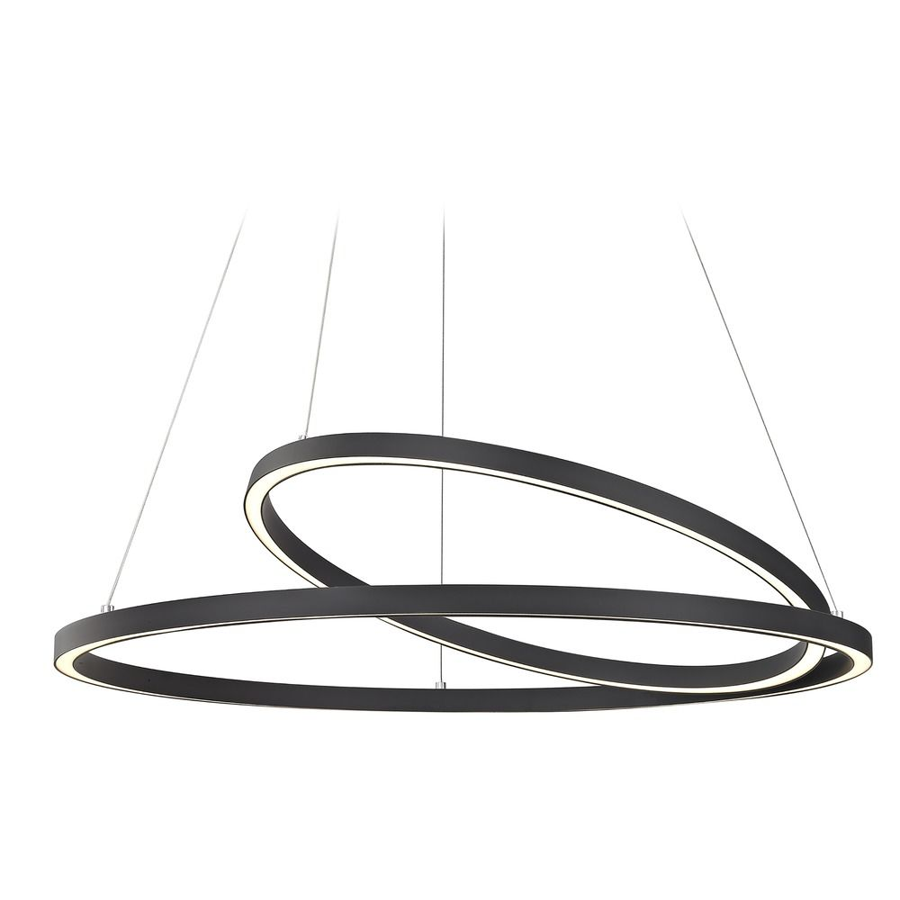 double pendant lighting. modern 32inch led double ring pendant light black finish alt1 lighting