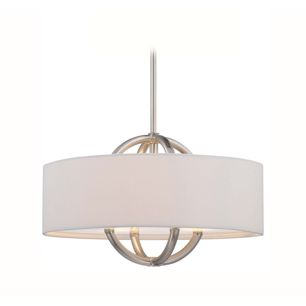 George Kovacs Lighting Modern Drum Pendant Light With White Shade In Brushed Nickel Finish P075