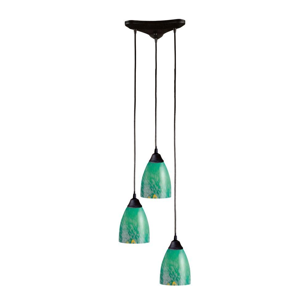 Modern Multi Light Pendant Light With Art Glass And 3 Lights 406 3EM Dest