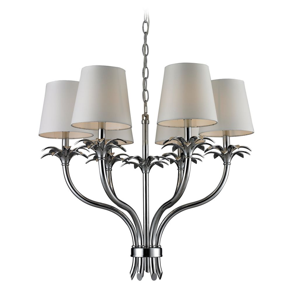 Chandelier with white shades in chrome finish 83030 6 destination lighting - White chandelier with shades ...