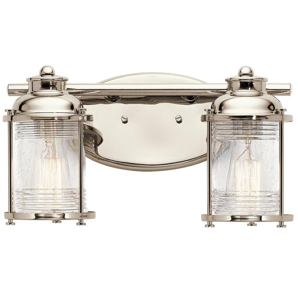 Kichler lighting ashland bay polished nickel bathroom for Polished nickel bathroom lighting